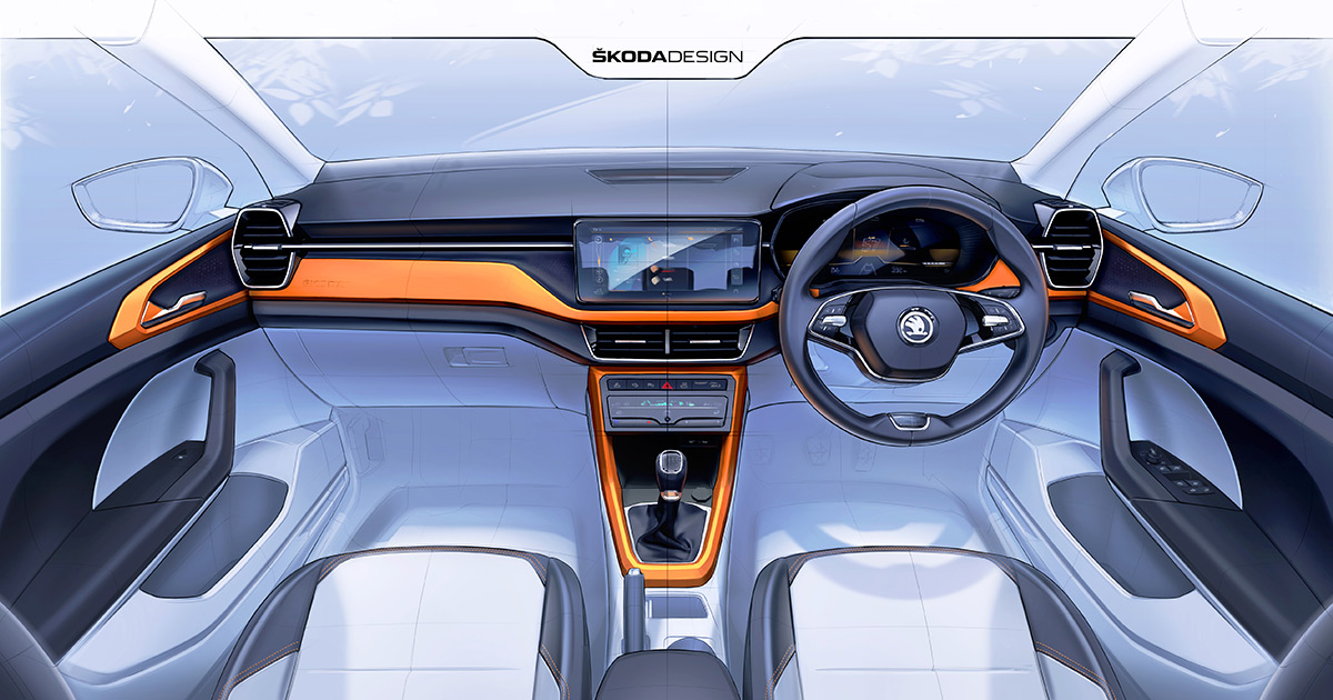 First Official Sketches Of Skoda Kushaq's Interior Revealed